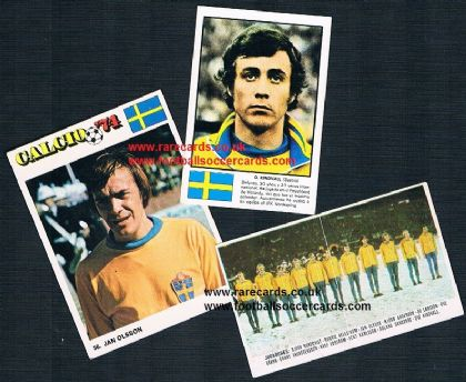 1970s Sverige World Cup 3 cards from Italy & Spain Ediraf Williams RuiRomer Damm